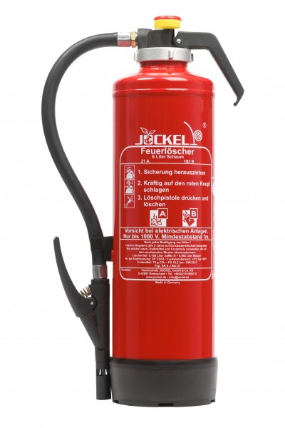 Jockel 6 Liter Auflade- Schaum Feuerlöscher (Schaumkartuschentechnik) SK6J 21 BIO
